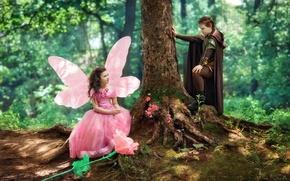 Картинка лес, цветы, дерево, крылья, платье, фея, девочка, наряд, ствол, принц, Diana Lipkina