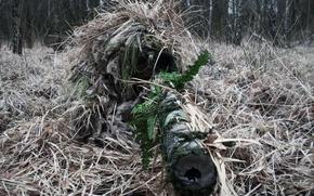 Обои камуфляж, снайпер, винтовка, прицел, оптика