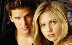 Картинка Ангел, сериал, Sarah Michelle Gellar, Buffy the Vampire Slayer, David Boreanaz, Баффи, истребительница вампиров