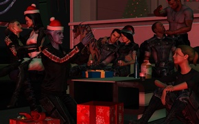 Картинка праздник, подарки, команда, вечеринка, Mass Effect