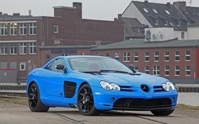 Картинка голубой, здание, McLaren, Mercedes, blue, building, slr, мереседес, CUT48