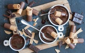 Картинка шоколад, вафли, ложки