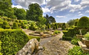 Обои сад, Англия, кусты, деревья, зелень, Mapperton, дорожки, фонтан, облака, дизайн