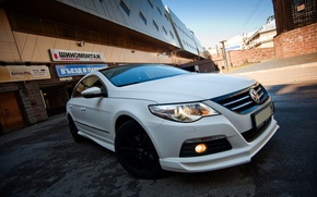 Обои Автомобиль, Белый, Фары, Volkswagen, Перед, Passat