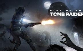 Обои холод, дополнение, зараженные, DLC, Rise of the Tomb Raider, девушка, лого, Crystal Dynamics, оружие, Лара ...