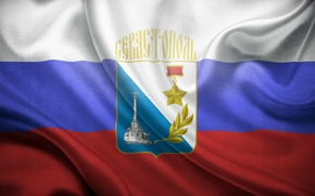Картинка звезда, флаг, Россия, герб, триколор, Крым, Севастополь, город герой, российский флаг