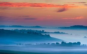 Обои небо, свет, туман, утро, деревня