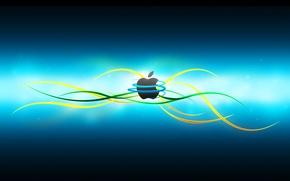 Картинка компьютер, линии, цвет, apple, яблоко, логотип, mac, телефон, ноутбук, эмблема, гаджет