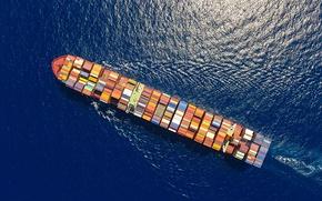 Обои sea, sunny, ship, ocean, sailing, cargo ship