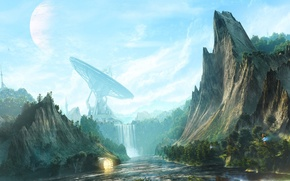 Картинка скалы, рисунок, водопад, антенна, desktopography, digital art, ретранслятор, waterfall valley