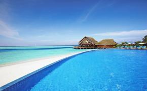 Картинка океан, бассейн, Мальдивы, отель