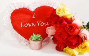 Картинка фото, Цветы, Сердце, Розы, День святого Валентина, Праздники, Подарки