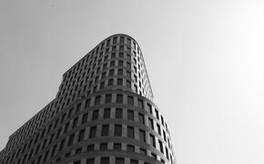 Картинка здание, окна, черно-белое
