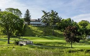 Картинка дорога, зелень, трава, деревья, мост, газон, Канада, Mississaugua