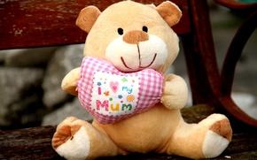 Картинка игрушка, сердце, медведь, мягкая, я люблю свою маму, i love my mum