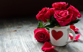 Картинка любовь, цветы, сердце, розы, ваза