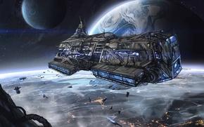 Космос корабль космический планета