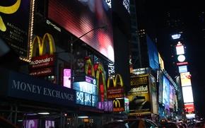 Картинка ночь, город, Нью-Йорк, такси, Макдональдс, таймс сквер, NYC, New York City, times square, McDonald's