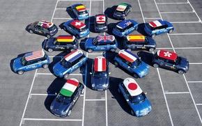 Обои флаги, машины, Mini Cooper