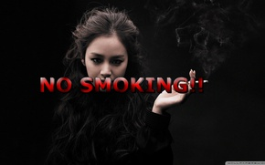 Картинка girl, GoodFon, Text, NO SMOKING!!!