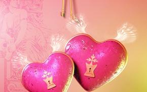 Картинка любовь, замок, сердце, крылья, love, ключи, key, Heart, Valentines Day