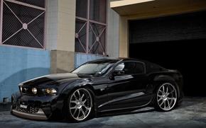 Картинка чёрный, Mustang, Ford, гараж