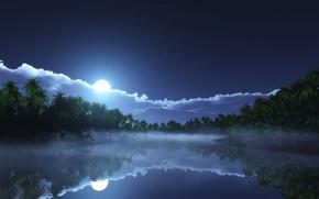 Картинка небо, облака, туман, тропики, пальмы, рендеринг, луна, залив