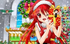 Обои настроение, праздник, новый год, звёзды, аниме, подарки, ёлка, Shakugan no Shana