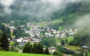 Картинка долина, городок, tilt shift, Europe, тилт шифт