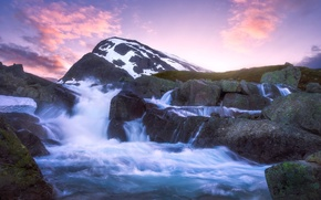 Картинка река, камни, гора, Норвегия, каскад, Norway, Ютунхеймен, Jotunheimen