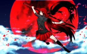 Картинка Девушка, катана, красный цвет, луна., Blood C, Сая Кисараги