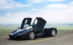 Картинка дорога, небо, облака, весна, двери, чёрная, Ferrari, Enzo, By David Bush