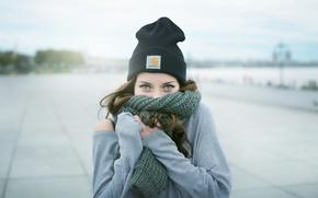 Картинка взгляд, шапка, Девушка, шарф, шатенка