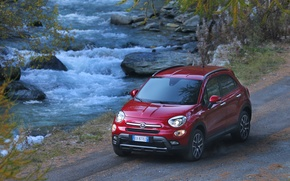 Картинка Red, Side, Background, Fiat, River, Left, Cross, 500X, (2015)