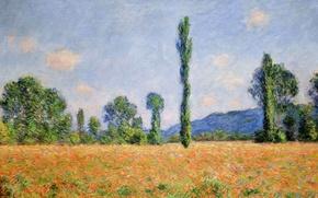 Обои Клод Моне, картина, Поле Маков в Живерни, пейзаж