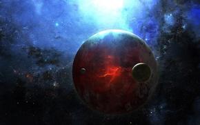 Картинка космос, звезды, трещины, планета, спутник, разлом