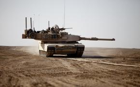 Картинка пустыня, танк, M1A1, бронетехника, Abrams, Абрамс