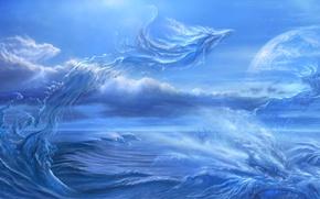 Картинка море, волны, брызги, планета, спутник, драконы, арт, ucchiey, kazamasa uchio