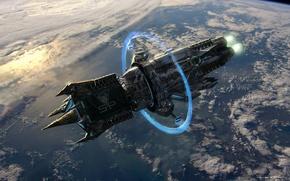 Обои космический корабль, энергия, Планета