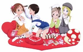 Картинка удивление, подушки, очки, белый фон, сумка, art, подруги, ichigo mashimaro, matsuri sakuragi, miu matsuoka, chika …