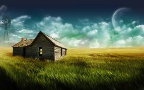 Картинка трава, дом, луна