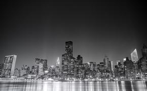 Картинка USA, United States, river, water, night, New York, Manhattan, NYC, New York City, Skyline, view, …