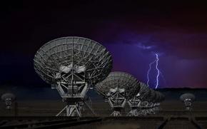 Картинка ночь, молния, антенны
