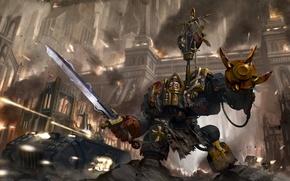 Картинка металл, город, оружие, меч, арт, Okita, black templars, warhammer 40k, space marines, dreadnought
