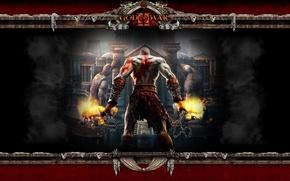 Картинка fire, flame, sword, demigod, soldier, Kratos, God of War, general, man, ken, face, captain, hero, …