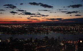 Картинка облака, закат, ночь, город, Нью-Йорк, залив
