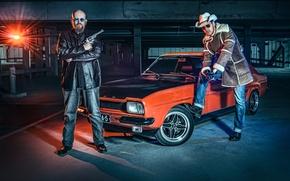 Картинка машина, авто, оружие, парковка, револьвер, Lauri Koponen, Ford Capri, Petri Damsten