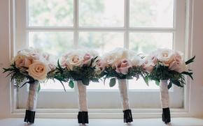 Картинка цветы, букеты, окно, розы, свадебные