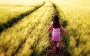 Картинка поле, лето, девочка