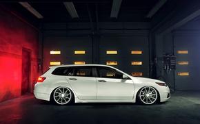 Картинка тюнинг, профиль, белая, white, Honda, хонда, vossen, акура, Acura, Wagon, TSX